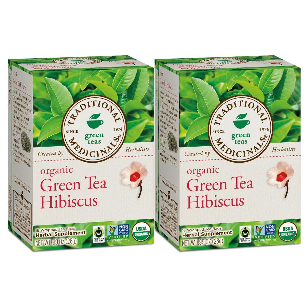 Traditional Medicinals Green Tea with Hibiscus Organic Tea - 32ct