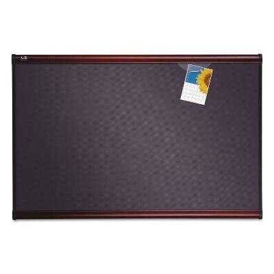 Quartet Prestige Bulletin Board Diamond Mesh Fabric 48 x 36 Gray/Mahogany Frame B444M