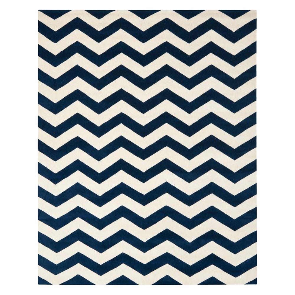 "8'9""X12' Chevron Area Rug Dark Blue/Ivory - Safavieh Product Image"