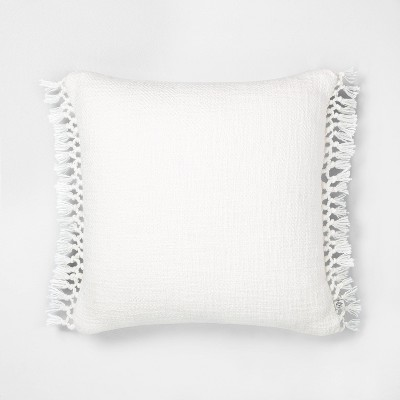 "18"" x 18"" Slub Knotted Fringe Throw Pillow - Hearth & Hand™ with Magnolia"