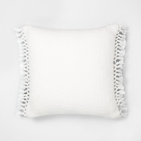 """18"""" x 18"""" Slub Knotted Fringe Throw Pillow - Hearth & Hand™ with Magnolia - image 1 of 4"""