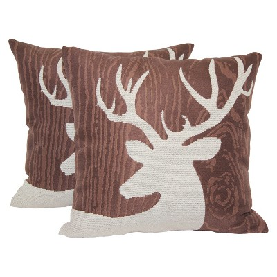 Brown Deer Silhouette Lodge Toss Throw Pillow 2 Pack (18 x18 )- Brentwood