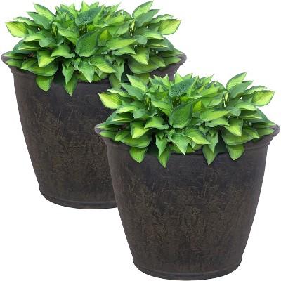 "Sunnydaze Anjelica Polyresin Indoor/Outdoor Unbreakable Double-Walled UV-Resistant Flower Pot Planter - 24"" Diameter - 2-Pack - Sable"
