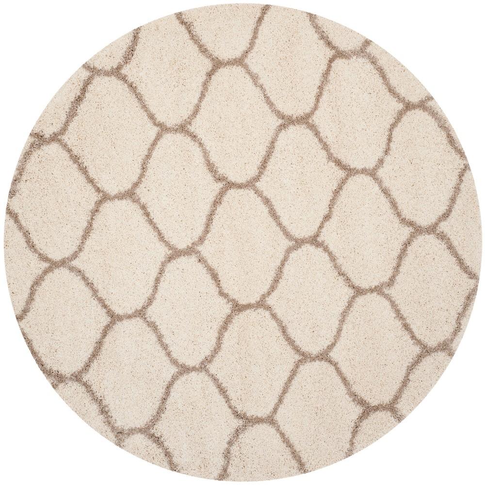 5' Quatrefoil Design Loomed Round Area Rug Ivory/Beige - Safavieh