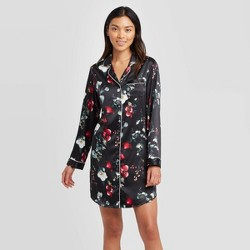 Women's Floral Print Satin Notch Collar Nightgown - Stars Above™