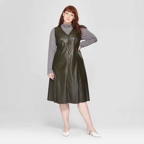 Womens Plus Size Faux Leather V Neck Fit Flare Midi Dress