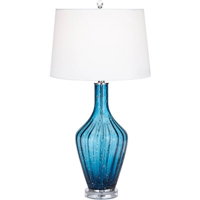 Possini Euro Design Coastal Table Lamp Blue Fluted Art Glass Vase White Drum Shade For Living Room Family Bedroom Bedside Target
