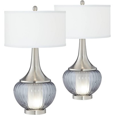 360 Lighting Courtney Metal and Glass Night Light Table Lamps Set of 2