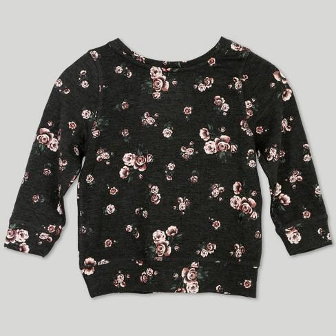 dac97d7c55b Afton Street Toddler Girls  Floral Print Long Sleeve T-Shirt - Gray   Target