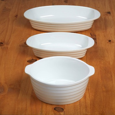 3pc Porcelain Bakeware Set White - Certified International