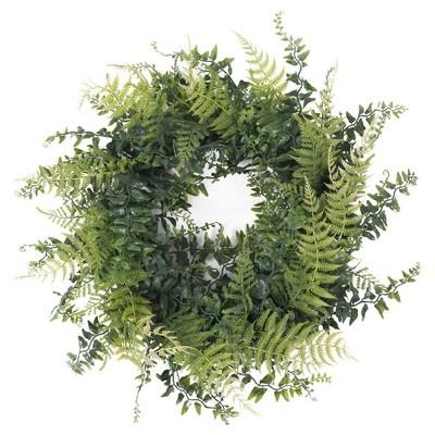 Artificial Buckler Fern & Grass Wreath (18 )Green - Vickerman