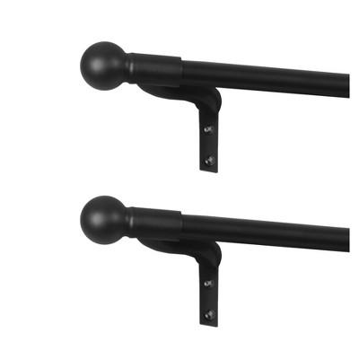 Set of 2 Easy Install Cap Finial Café Rods - Smart Rods