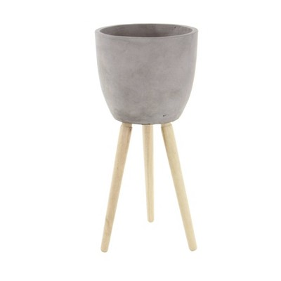 """32"""" Contemporary Fiber Clay Novelty Planter with Stands Gray - Olivia & May"""