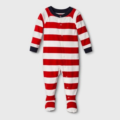 Baby Striped Footed Sleeper - Red 6-9M