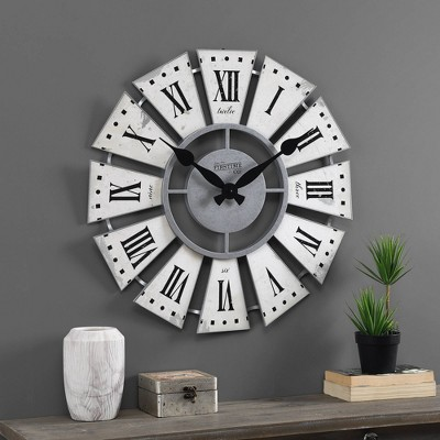 Numeral Farmhouse Windmill Clock White - FirsTime