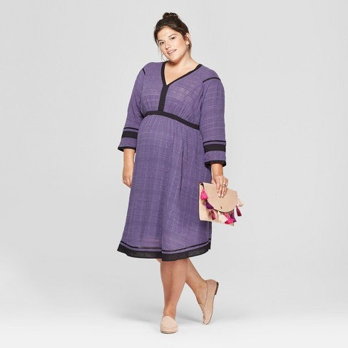 Maternity Plus Size 3/4 Sleeve Woven Color Block Dress - Isabel Maternity by Ingrid & Isabel™ Purple/Black - image 1 of 2