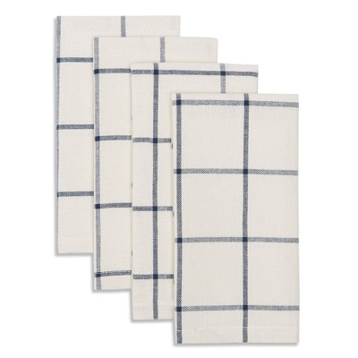 4pk Cotton Window Pane Napkins Blue - Town & Country Living