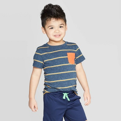 Toddler Boys' Elevated Texture Stripe T-Shirt - Cat & Jack™ Navy/Yellow 3T