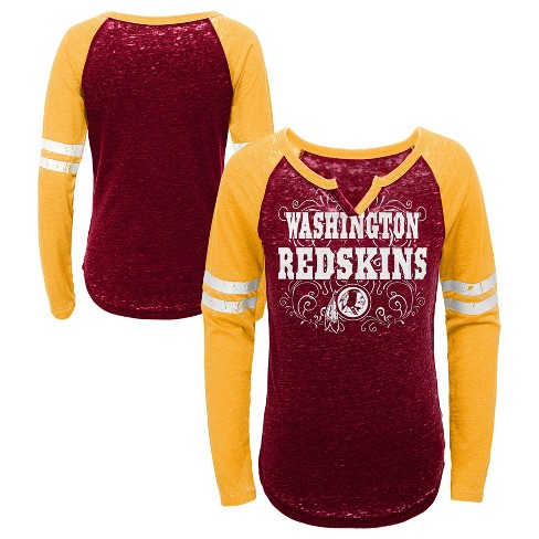 NFL Washington Redskins Girls  Fashion Team Alt Color Burnout Long Sleeve T- Shirt 88d74cbf2