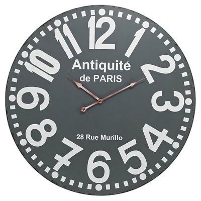 """Antiquité de Paris 24"""" Round Wall Clock Gray - Lazy Susan"""