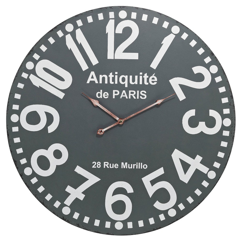 Image of Antiquité de Paris 24 Round Wall Clock Gray - Lazy Susan