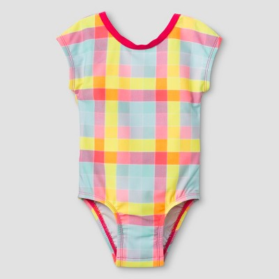 Baby Girls' Sleeved One Piece Swimsuit with Bow - Cat & Jack™ 9M