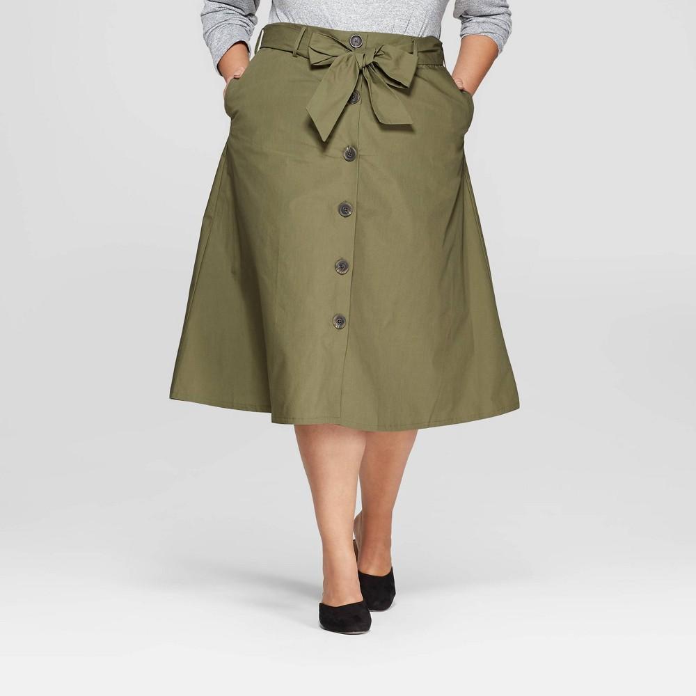 Women's Plus Size Midi Button Front Skirt - Ava & Viv Olive (Green) 3X