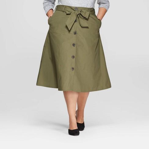 58ffe9c735eea Women s Plus Size Midi Button Front Skirt - Ava   Viv™   Target