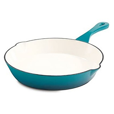 Crock Pot 111982.01 Artisan 10 inch Round Enameled Non Stick Cast Iron Skillet with Handle and Pour Spouts in Teal Ombre