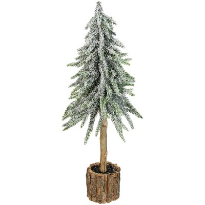 "Northlight 14.75"" Flocked Downswept Artificial Mini Pine Christmas Tree with Bark Base- Unlit"
