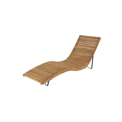 """31""""x26"""" Contemporary Teak Patio Chaise Lounge - Brown - Olivia & May"""