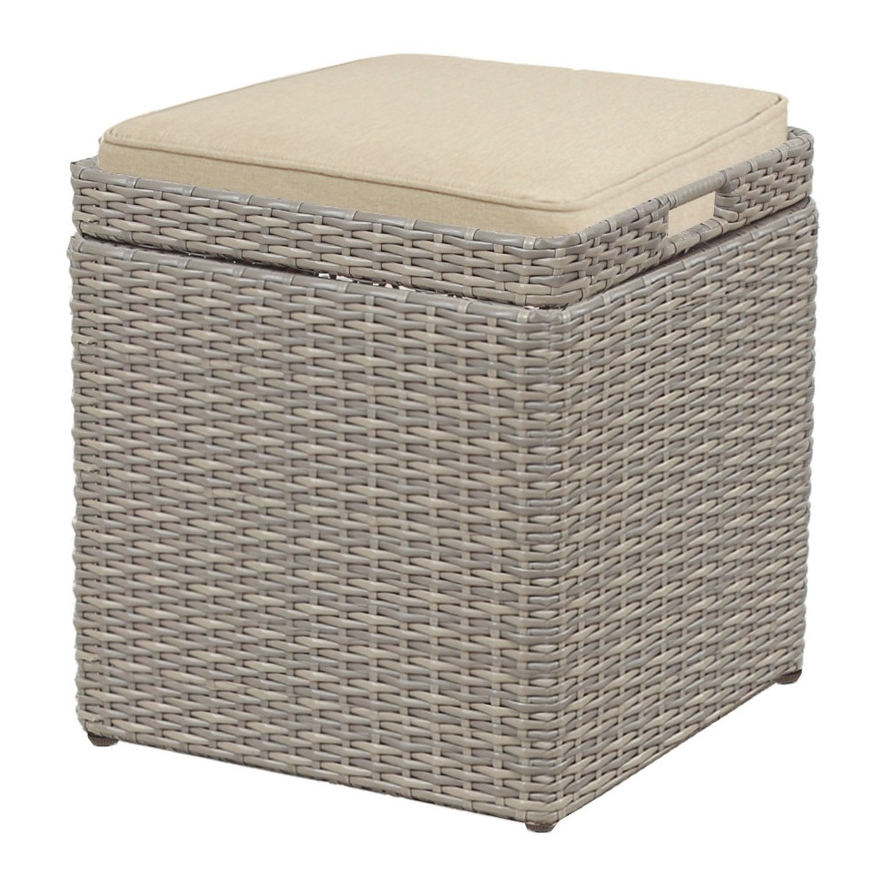 Patio Wicker Storage Stool with Cushion Gray - Threshold