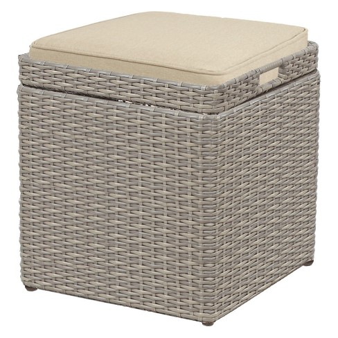 Prime Patio Wicker Storage Stool With Cushion Threshold Machost Co Dining Chair Design Ideas Machostcouk
