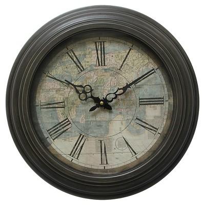 17  Round Iron Wall Clock Black - Yosemite Home Decor®