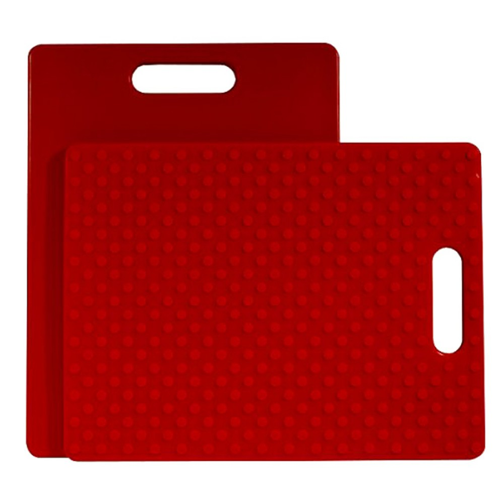 Image of Architec 14 x 11 Inch Non-Slip Plastic Cutting Board with Handle, Red