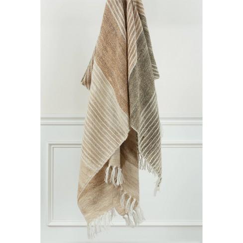 "50""x60"" Stripe Throw Blanket Dark Beige - Rizzy Home - image 1 of 4"