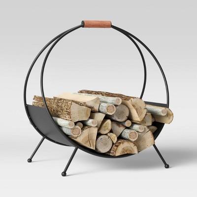 "20"" x 14"" Iron Log Holder with Wood Handle Black - Threshold™"