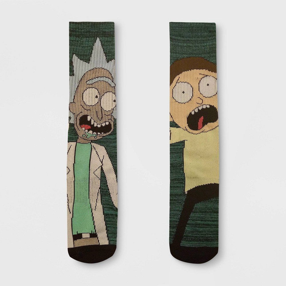 Image of Men's Rick and Morty 2pk Mismatched Athletic Crew Socks - Teal 6-12, Size: Small, Green