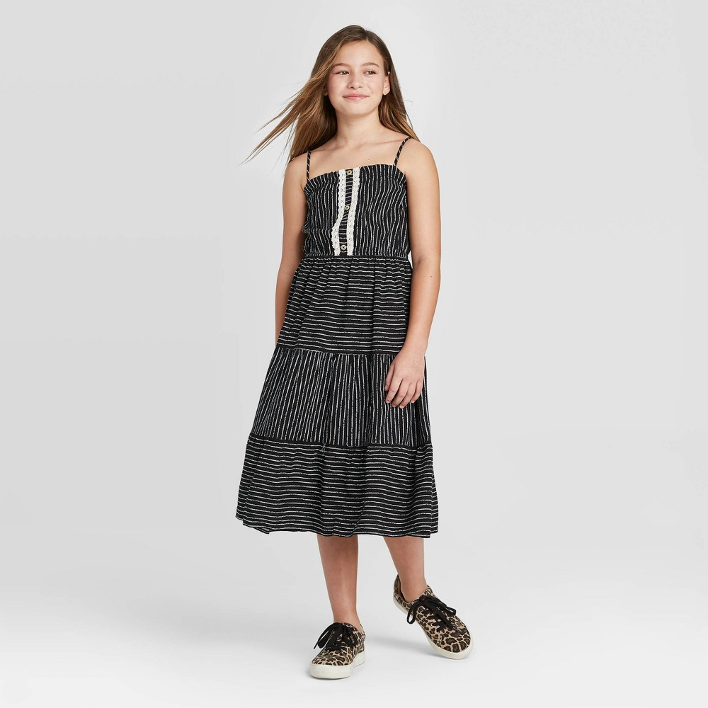 Girls' Crochet Button-Front Tier Maxi Dress - art class S, Girl's, Size: Small, MultiColored was $19.99 now $7.99 (60.0% off)