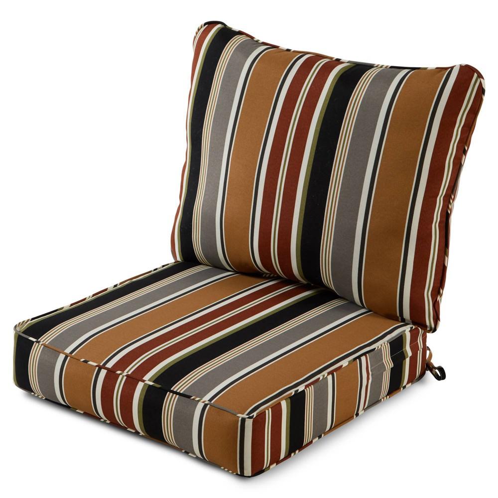 Image of 2pc Outdoor Deep Seat Cushion Set Brick Stripe - Kensington Garden
