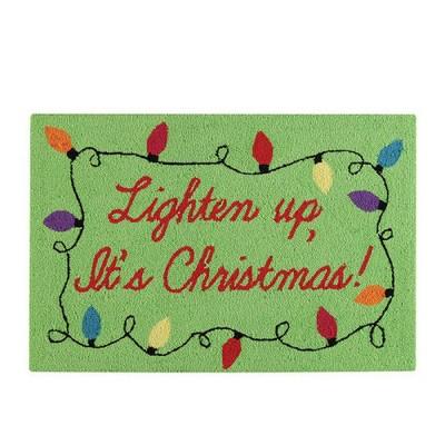 "Gallerie II 1.8' x 2.8' Green and Red ""Lighten Up, It's Christmas"" Hooked Rectangular Area Throw Rug"