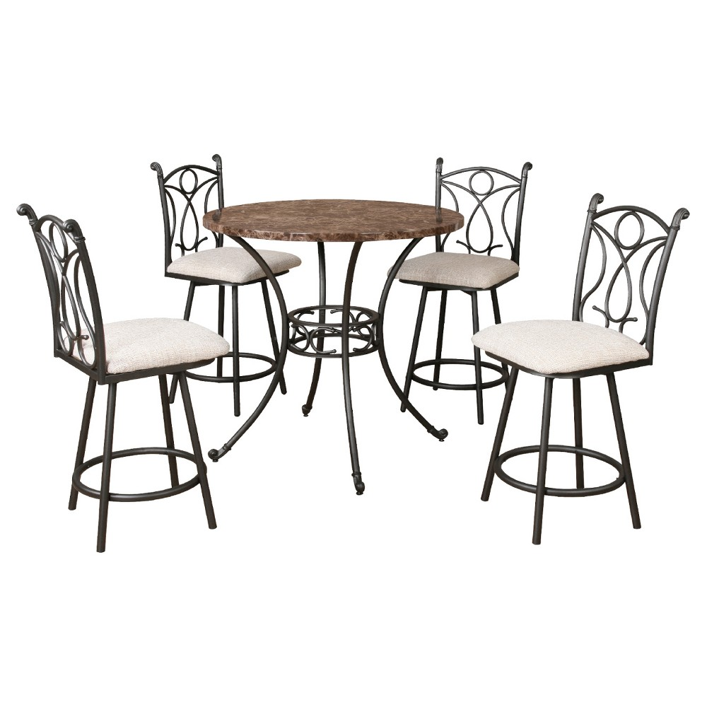 Dining Table Set - 5pc In Set - Home Source, Dark Taupe
