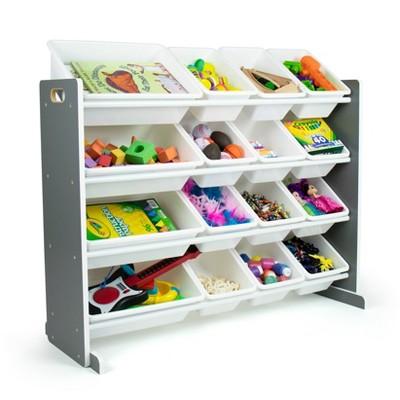 Soho Toy Storage Organizer with 16 Storage Bins Gray/White - Humble Crew