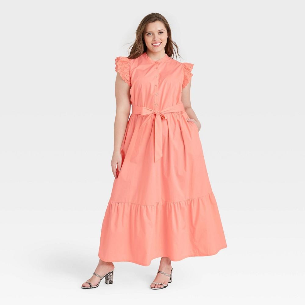 Women 39 S Plus Size Ruffle Short Sleeve A Line Dress Who What Wear 8482 Pink 1x