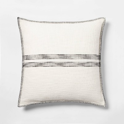 Oversize Square Woven Stripe Pillow Cream/Black - Threshold™