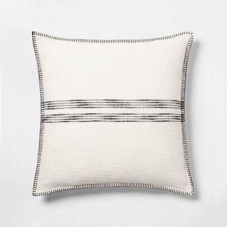 Oversize Woven Striped Square Throw Pillow Cream/Black - Threshold™
