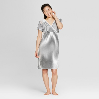 Lamaze Women's Striped Nursing Short Sleeve Nightgown - Gray M