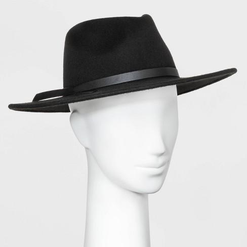 Women's Wide Brim Felt Fedora Hat - Universal Thread™ Black One Size - image 1 of 1