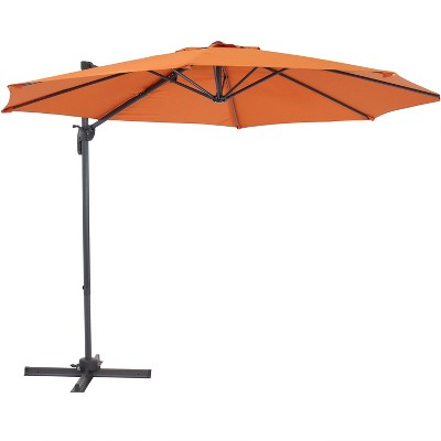 Offset Cantilever Patio Umbrella with 360-Degree Rotation - Burnt Orange - Sunnydaze Decor