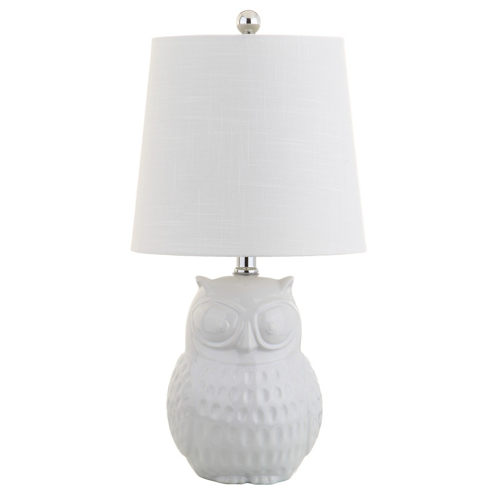 "Image of ""20.5"""" Hoot Ceramic Mini LED Table Lamp White (Includes Energy Efficient Light Bulb) - JONATHAN Y"""